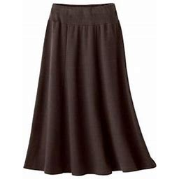 Women's Petite Everyday Knit Long Skirt, Chocolate P-L, Appleseed's