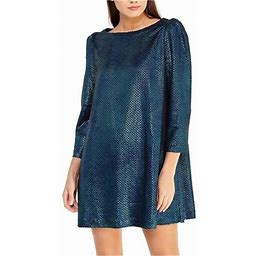 Free People Womens Diamonds Are Forever Metallic Mini Dress, Women's, Size: XS, Blue
