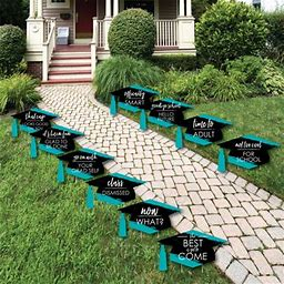 Teal Grad - Best Is Yet To Come - Grad Cap Lawn Decorations - Outdoor Graduation Party Yard Decorations - 10 Pieces, Adult Unisex, Size: One Size,