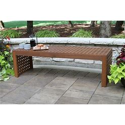 Eilaf Checkerboard Oversized Eucalyptus Bench - N/A - Brown