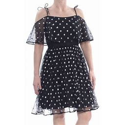 Adrianna Papell Womens Black Tie Sheer Polka Dot Short Sleeve Off Shoulder Knee Length Party Dress Size 10, Women's