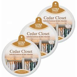 Citrus Magic For Closets Odor Absorbing Solid Air Freshener, Cedar, 8-Ounce, Pack Of 3, Brown