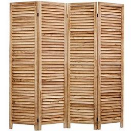 Legacy Decor Full Length Wood Shutters 4 Panel Room Divider, 67 Inch Tall, Natural, Beige