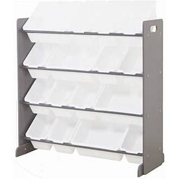 Wooden Kids' Toy Storage Organizer With 16 Plastic Bins,X-Large, Gray/White, Girl's
