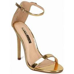 Alrisliliana New Women Liliana Tisha-45 Single Band Rhinestone Backing Stiletto Sandal, Women's, Size: 5.5, Gold