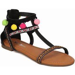 New Women Nature Breeze Francis01 Mixed Media T-Strap Tribal Pom Pom Flat Sandal, Women's, Size: 9, Black