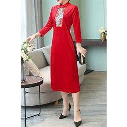 Unomatch Women High Neck Embroidered Shift Dress, Women's, Size: XS