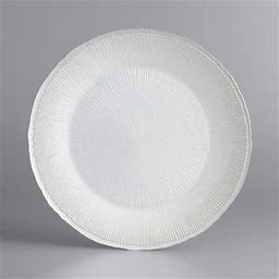 """The Jay Companies 1470458 13"""" Round White And Silver Fusion Glass Charger Plate"""