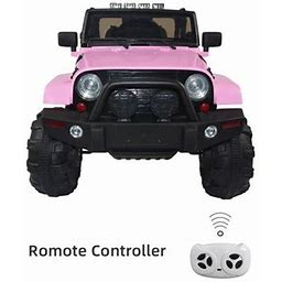 Kids Power Wheels Jeep Wrangler 12V Battery Operated Ride On Jeep Truck With Big Wheels, Mp3, RC/Remote Control Pink