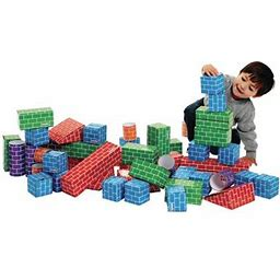 Excellerations Giant Building Bricks, Durable, Cardboard 3 Inchl X 12 Inchl Blocks For Classroom Activity For Young Learners, Preschool (Item