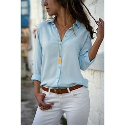 Women's Blouse Shirt Plain Solid Colored Long Sleeve Basic Shirt Collar Work Casual Tops Chiffon Light Blue L 0000P