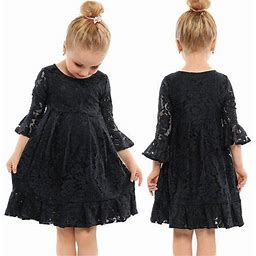 Canis Baby Girl Kids Dresses Lace Floral Wedding Ball Gown Party Formal Dress Sundress, Infant Girl's, Size: 4-5 Years, Black