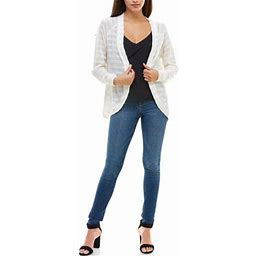 Charming Charlie Women's Lightweight Ribbed Cardigan - Open Front, Long Sleeves - White, Large