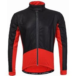 Thermal Cycling Jersey Long Sleeve Snow Water Reflective Windproof Firewall Winter Biking Jacket(Large, Red), Men's