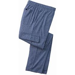 Haband Mens Comfort Knit Cargo Pants, Medium Blue Heather, Size L XL (33-34)
