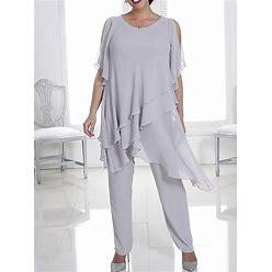 Pantsuit / Jumpsuit Mother Of The Bride Dress Elegant Jewel Neck Floor Length Chiffon Half Sleeve With Cascading Ruffles 2021 Black US 6 / UK 10 / EU
