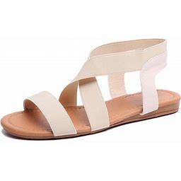 Lowestbest Sandals For Women, 002rw40ns Women's Flat Sandals Criss-Cross Open Toe Wide Elastic Strap Fashion Summer Shoes For Ladies, Beige Soft