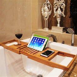 Ktaxon Bamboo Bathtub Rack Caddy Shower Book Tray Shelf Wine Holder 70-105Cm, Size: (27.55 X 8.66 X 1.57) / (70.00 X 22.00 X 4.00)Cm (Large X W X H),