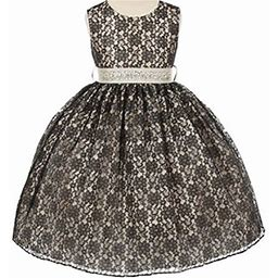 Dreamer P Little Girls Lace Taffeta Jeweled Belt Sash Flowers Girls Dresses Black Ivory Size 2, Girl's