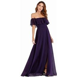 Ever-pretty Womens Chiffon Outdoor Casual Dresses For Women 0968 Dark Purple Us10, Women's