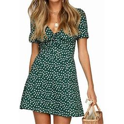 Multitrust Women Summer Boho Short Mini Dress Evening Cocktail Party Beach Dresses Sundress, Women's, Size: Small, Green