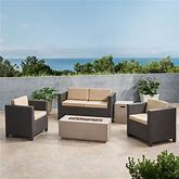 Havelok Outdoor 4 Seater Wicker Chat Set With Fire Pit By Christopher Knight Home - Dark Brown+Beige+Light Grey