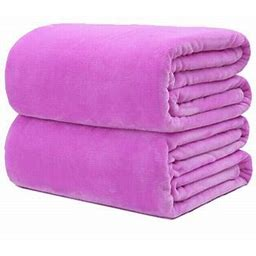 19.7X27.6Inch Super Soft Warm Micro Plush Fleece Blanket Throw Rug Sofa Bedding, Size: 50X70cm, Purple