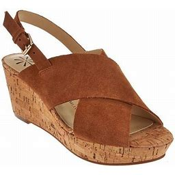 New Womens Isaac Mizrahi Maddie Crossband Wedge Sandal Cognac Sz 8.5 M ASO QVC, Women's, Size: Medium, Brown