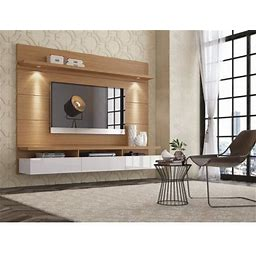 Manhattan Comfort Cabrini 1.8 Floating Wall Theater Entertainment Center In Maple Cream And Off White, Brown Ivory And Off White