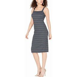 Ultra Flirt Womens Juniors Knit Striped Bodycon Dress, Women's, Size: XS, Black