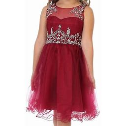 Dreamer P Big Girls' Dress Rhinestones Pageant Holiday Party Gown Flower Girl Dress Burgundy Size 18 (m71bk2), Girl's, Red