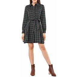 Allegra K Women's Plaid Lantern Sleeve Waist Belt Front Button Closure OL Dress, Size: XS, Green