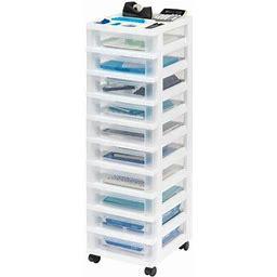 Iris USA 10-Drawer Storage Cart With Organizer Top, White, Size: 10 Drawers