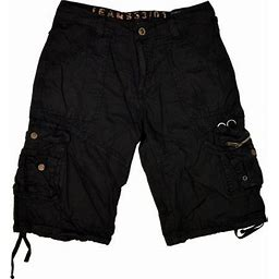 Stone Touch Jeans Mens Military Cargo Shorts 055 Black Size 32, Men's