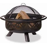 """Uniflame 36"""" Oil Rubbed Bronze Firebowl With Geometric Design"""