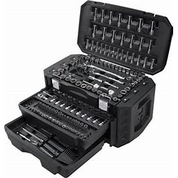 Hart Multiple Drive 215-Piece Mechanics Tool Set, Chrome Finish Size: 21 Inch W X 12.5 Inch D X 14.5 Inch H, Silver