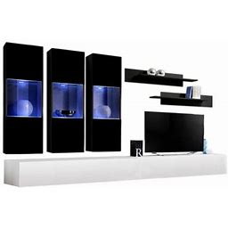 Fly E 30Tv Wall Mounted Floating Modern Entertainment Center, Size: E2, Black