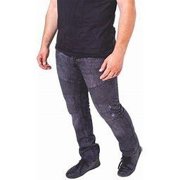 Skylinewears Mens Skinny Destroyed Biker Slim Fit Straight Fashion Stretch Biker Zipper Jeans, Men's, Size: 32 X 30, Black