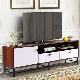 Tv Stand, Rustic TV Stand For Tvs Up To 65 Inch, Farmhouse Modern TV Stand With Adjustable Shelves, Television Stand Media Console Cabinet For Living