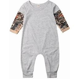 Nituyy Unisex Baby Clothes Newborn Infant Baby Long Sleeve Cotton Soft Rompers Jumpsuit, Infant Unisex, Size: 0-6 Month, Gray