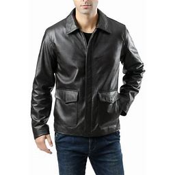 Landing Leathers Men's Voyager Indy-Style Goatskin Leather Jacket (Regular & Tall Sizes), Size: Medium, Brown