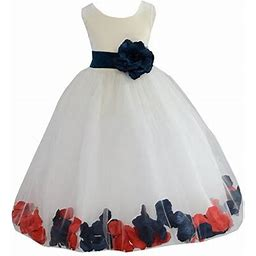 Ekidsbridal Ivory Tulle Multi-Colored Mixed Rose Petals Flower Girl Dress Weddings Easter Special Occasions Pageant Toddler Birthday Party Holiday