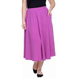 White Mark Tasmin Womens Stretch Midi Flared Skirt-Plus, 1x , Purple