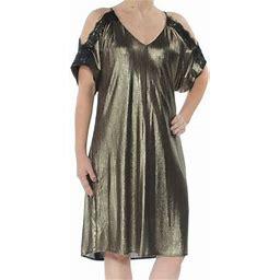 Rachel Rachel Rachel ROY Womens Gold Cold Shoulder Metallic Short Sleeve V Neck Below The Knee Shift Cocktail Dress Size XS, Women's