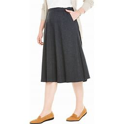 Plus Size Women's 7-Day Knit A-Line Skirt By Woman Within In Heather Charcoal (L) | Cotton