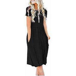 Vista Women's Short Sleeve Pockets Empire Waist Pleated Loose Swing Casual Flare Dress, Size: 2XL, Black
