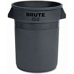 Rubbermaid Commercial Products Outdoor Gray Brute Heavy-Duty Round Garbage Can, 32 Gallon, Gray