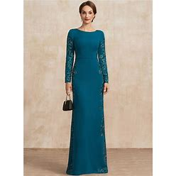Jjshouse Sheath Column Scoop Neck Floor-Length Stretch Crepe Mother Of The Bride Dress With Appliques Lace