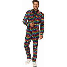 OppoSuits Wild Rainbow Men's Costume Suit   Adult   Mens   Black/Blue/Red   44   Opposuits