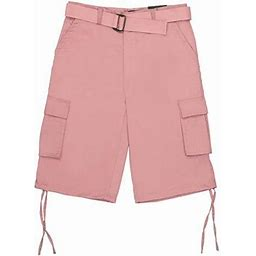 North 15 Men's Belted Clasic Cargo Pockets Twill Shorts-4550-Ros-40, Pink